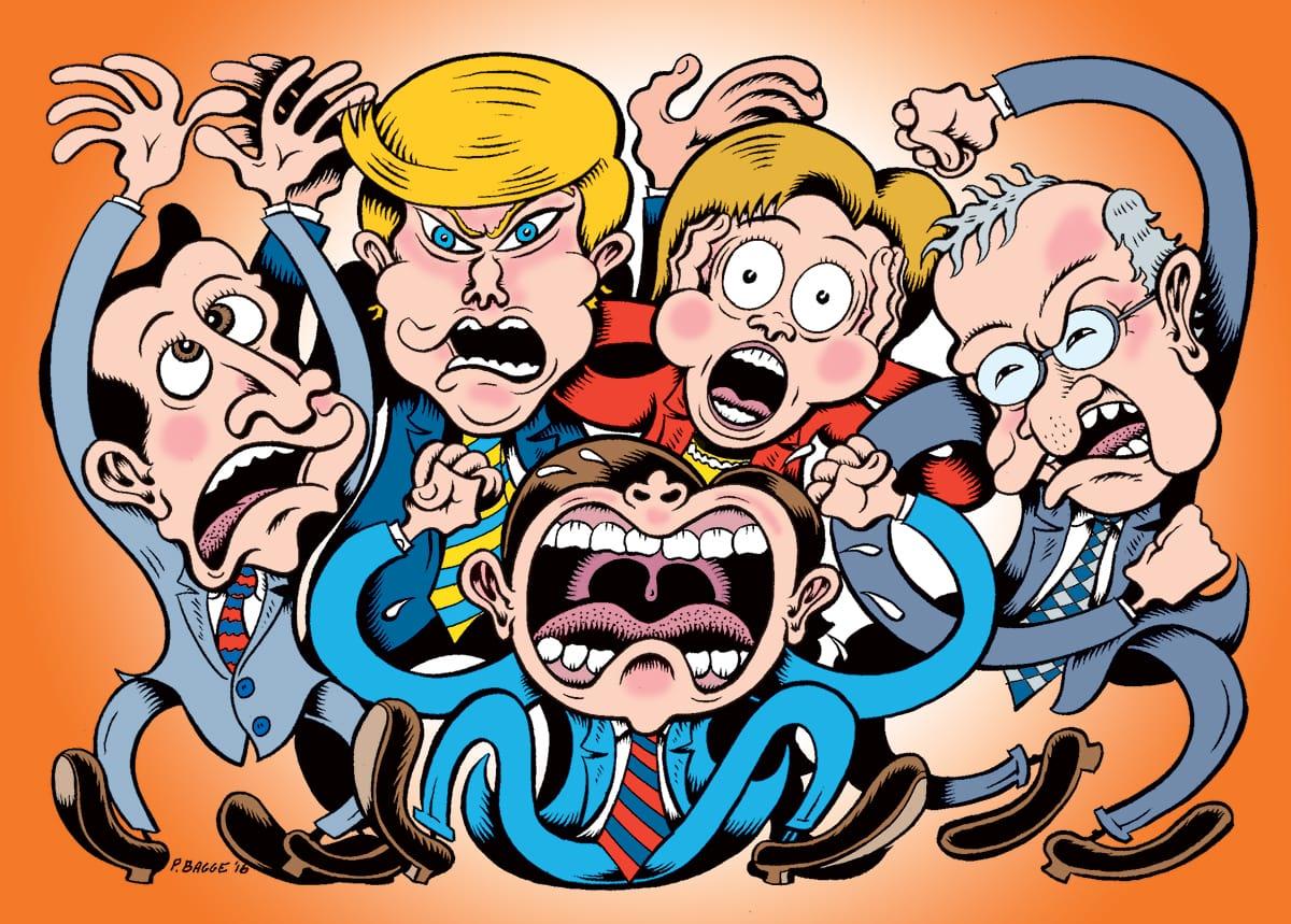 Peter Bagge, Hillary Clinton, Bernie Sanders, Ted Cruz, Donald Trump, Marco Rubio, Politics, Buddhism