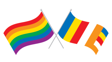 A rainbow flag and buddhist flag crossed.