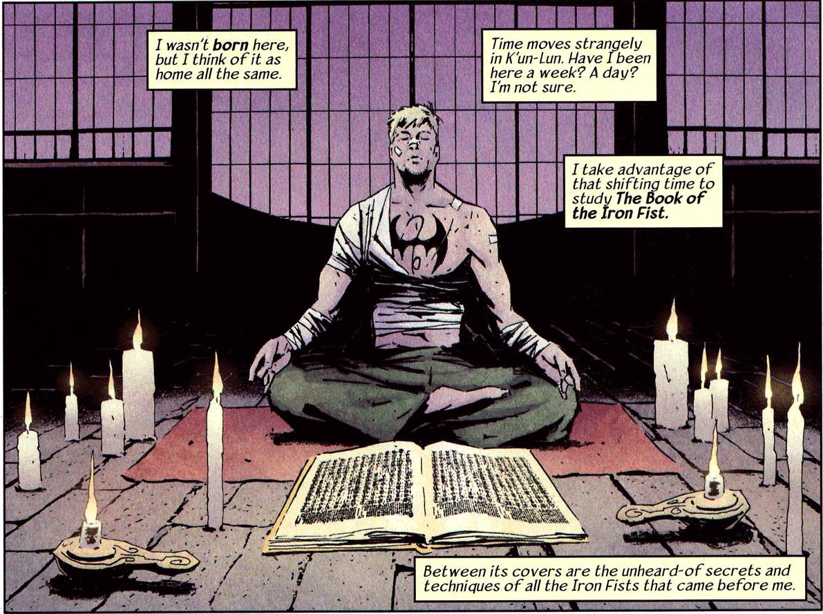 Iron Fist meditating.