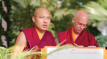 "The Karmapa speaking at the ""Awakening the Light of Dharma"" conference in November, 2015."