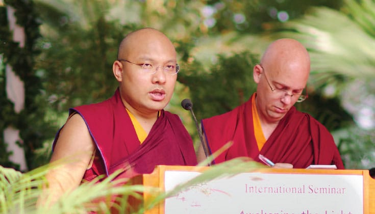 "The Karmapa speaking at the ""Awakening the Light of Dharma"" conference in November, 2015."
