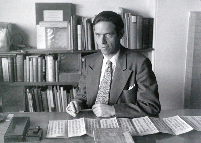 Watts at his desk at the American Academy of Asian Studies.