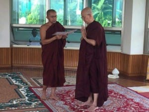 Thein Sein (right) is seen standing near a fellow monk at a monastery in Pyin Oo Lwin.