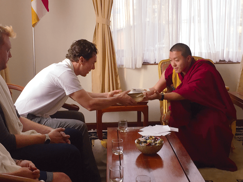 Cumberbatch and Dilgo Khyentse Yangsi Rinpoche discussed Buddhist philosophy during a private audience at Shechen Monastery in Boudhanath.