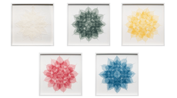 The five mandalas, created by Miya Ando, are inspired by Tibetan prayer flags and created using leaves from the Bodhi tree.