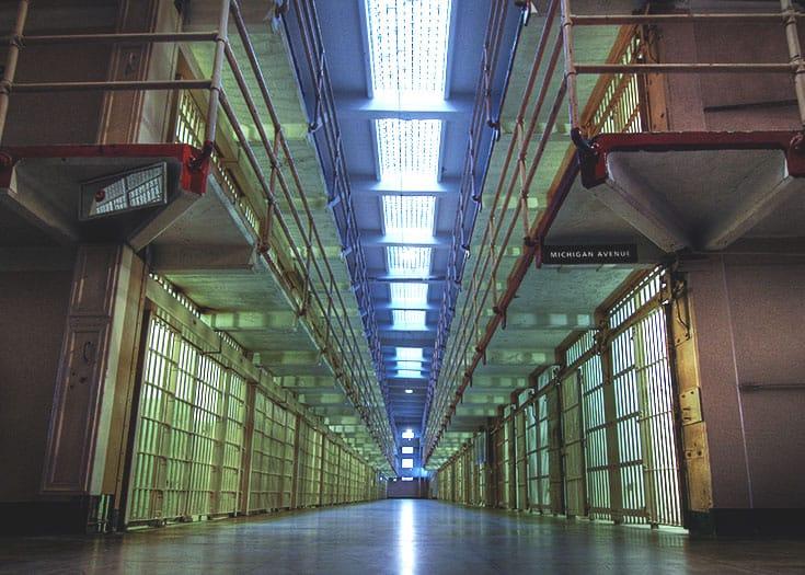 Prison hallway.