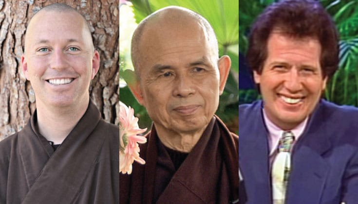 Brother Phap Hai, Thich Nhat Hanh, and Garry Shandling.