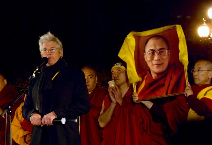 Richard Gere at a demonstration for the Dalai Lama.