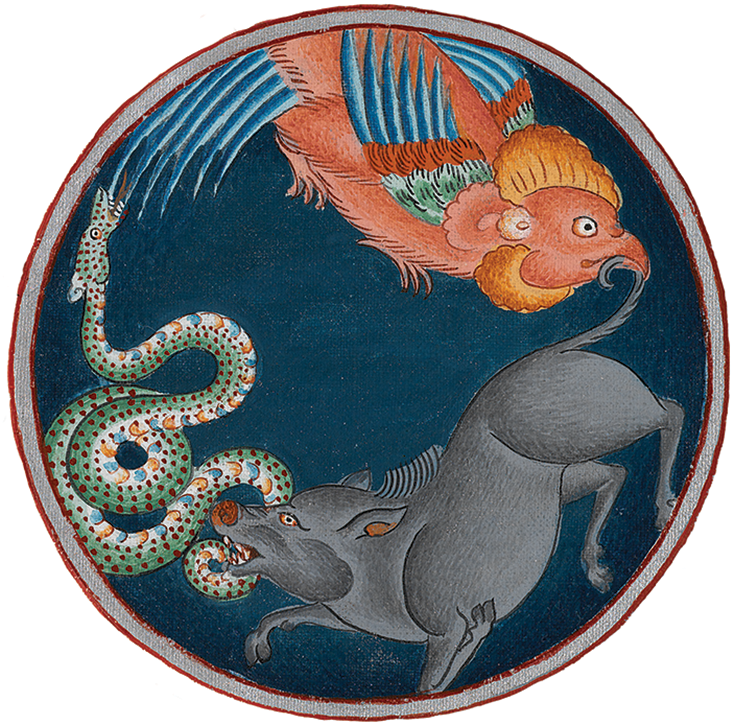 Rooster, pig, and snake, symbolizing the three poisons. Detail from Bhavacakra (wheel of life). With permission of the Royal Ontario Museum.