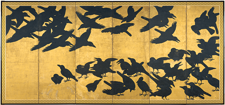 Crows, six-panel screen, Japan, Edo period / Eugene Fuller Memorial Collection, Seattle Art Museum.