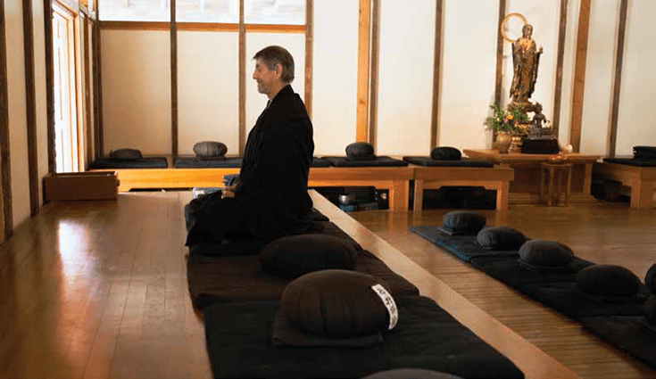 """What is it?"": Sitting meditation in the Green Gulch Zendo."