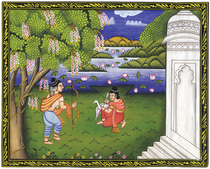 The young prince Siddhartha rescues the wounded swan in a painting.