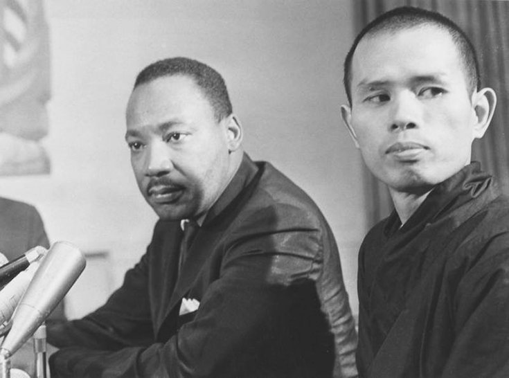 Dr. Martin Luther King announcing that he had nominated Thich Nhat Hanh for the Nobel Peace Prize. Image via public domain.