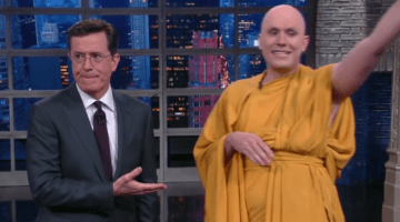 Stephen Colbert with his new friend, Donny The Real Buddhist Monk.