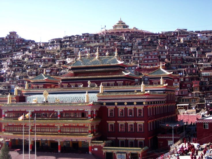 Jomo Lhakhang, or the nun's assembly hall, at Larung Gar. Photo by Holly Gayley.