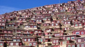 Monastic Residences Lining One of the Hillsides at Larung Gar.