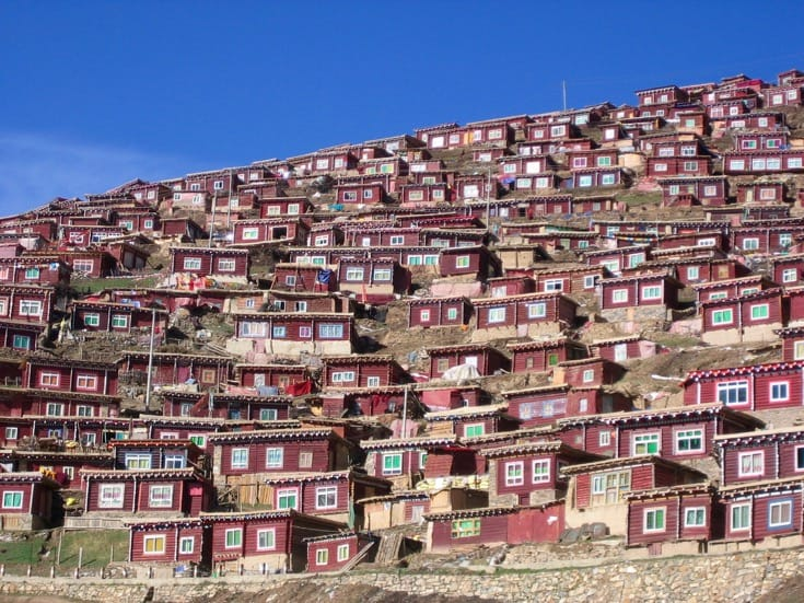 Monastic residences lining one of the hillsides at Larung Gar. Photo by Holly Gayley.