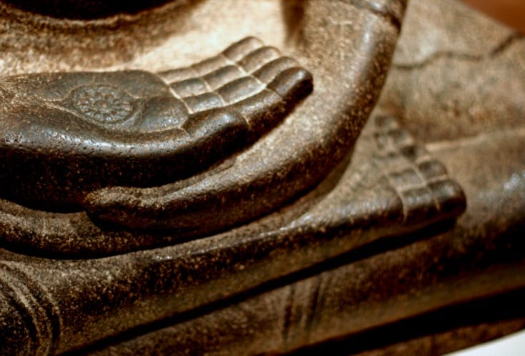 Buddha seated in meditation.