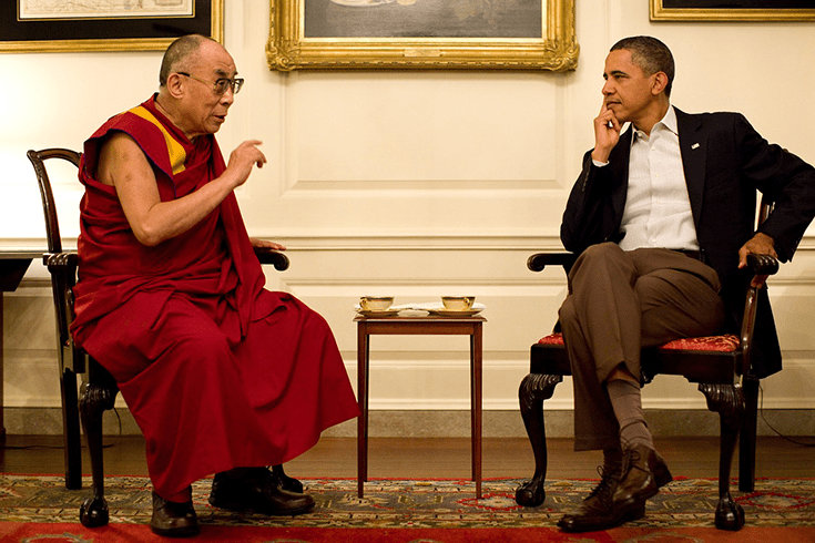 The Dalai Lama with U.S. President Barack Obama.