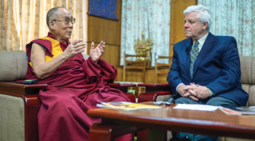 """His Holiness the 14th Dalai Lama with """"Lion's Roar"""" editor-in-chief Melvin McLeod. Photo by Tenzin Choejor via DalaiLama.com."""