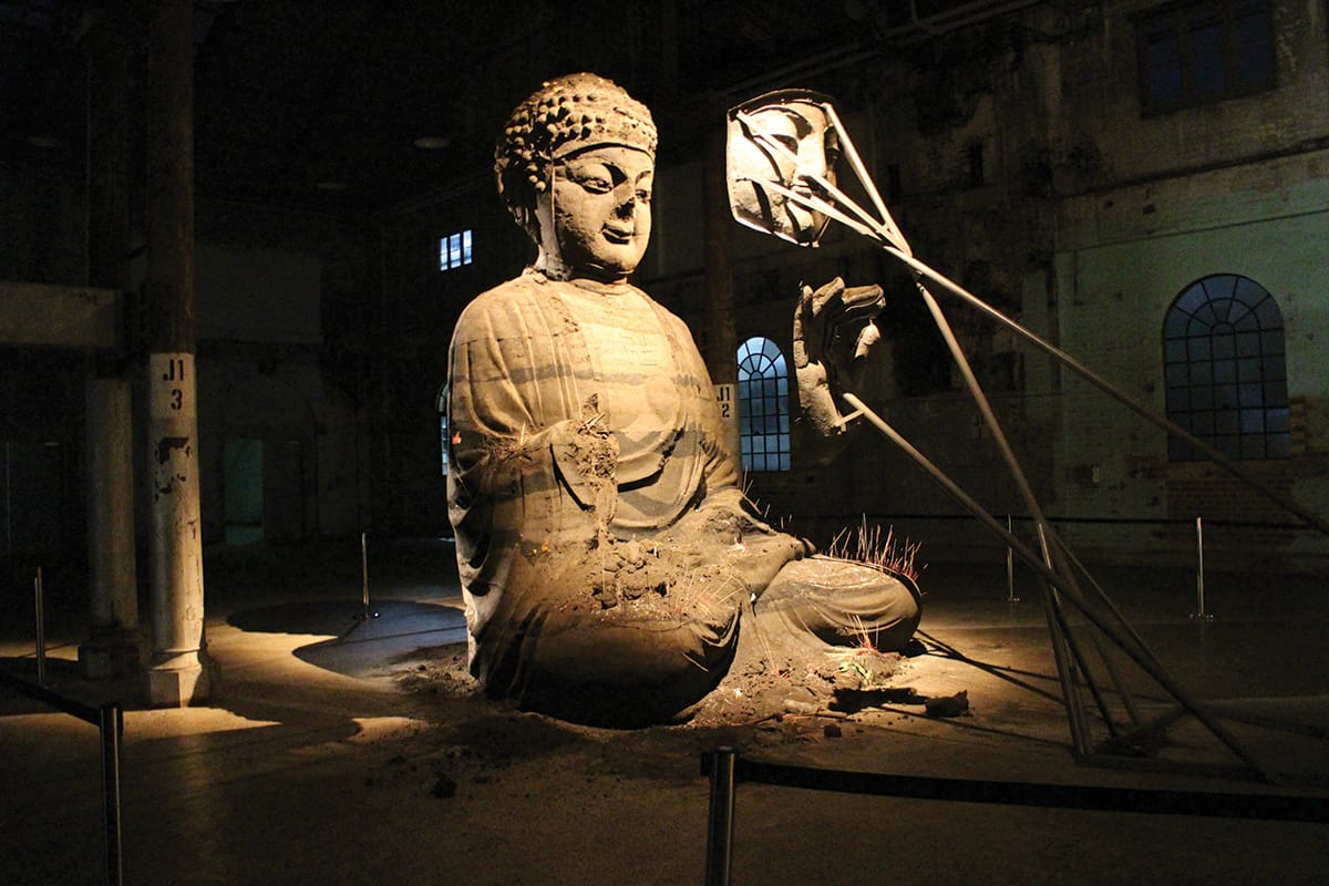 Buddha sculpture under construction.