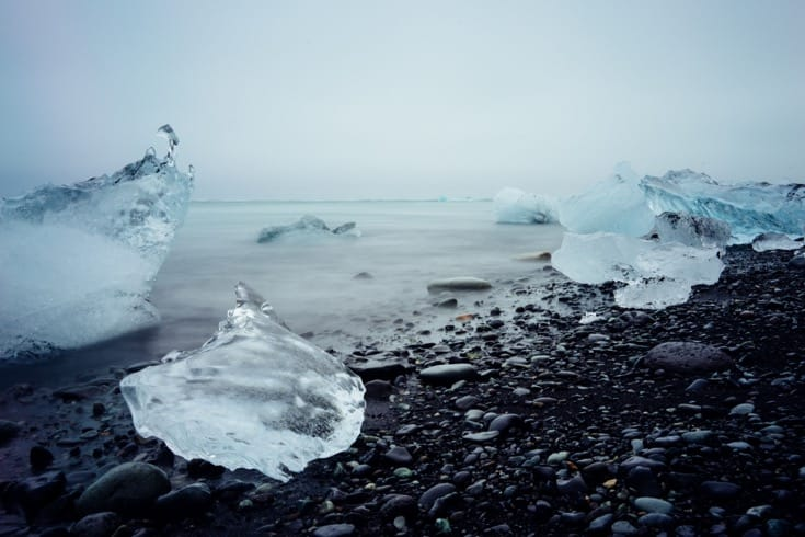 Buddhist ice melting in the ocean, ecological crisis, environment, climate change.