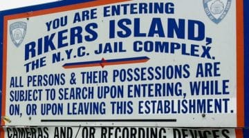 Sign at Rikers Island.