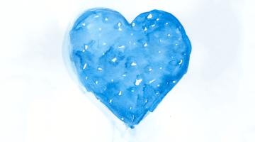 Blue heart painting.
