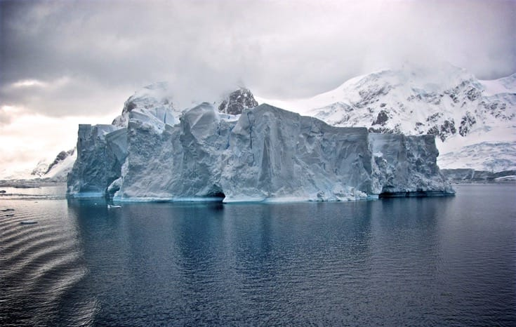 An iceberg in antarctica, Buddhists, climate change