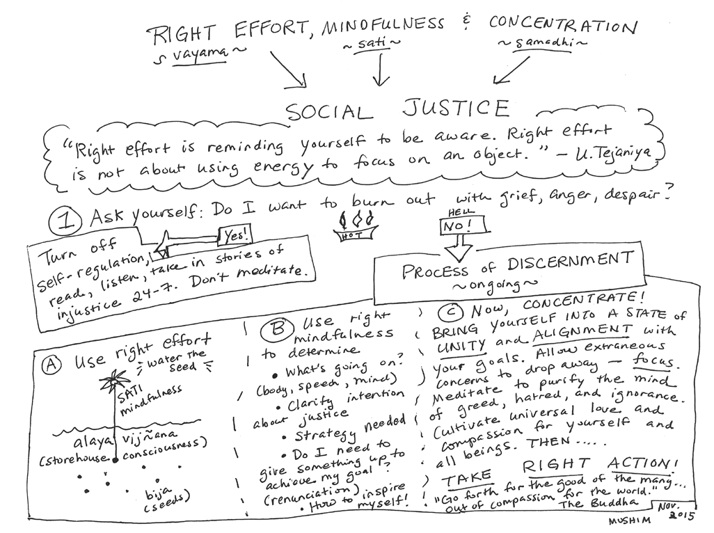 "Infographic by Mushim Patricia Ikeda from a class titled ""Right Mindfulness, Concentration, Effort, and Social Justice.:"