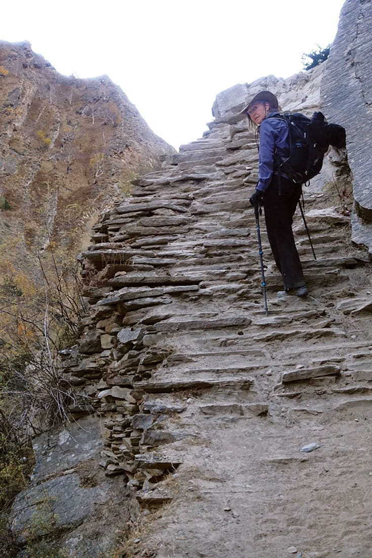 Rebecca Solnit hiking in Nepal.