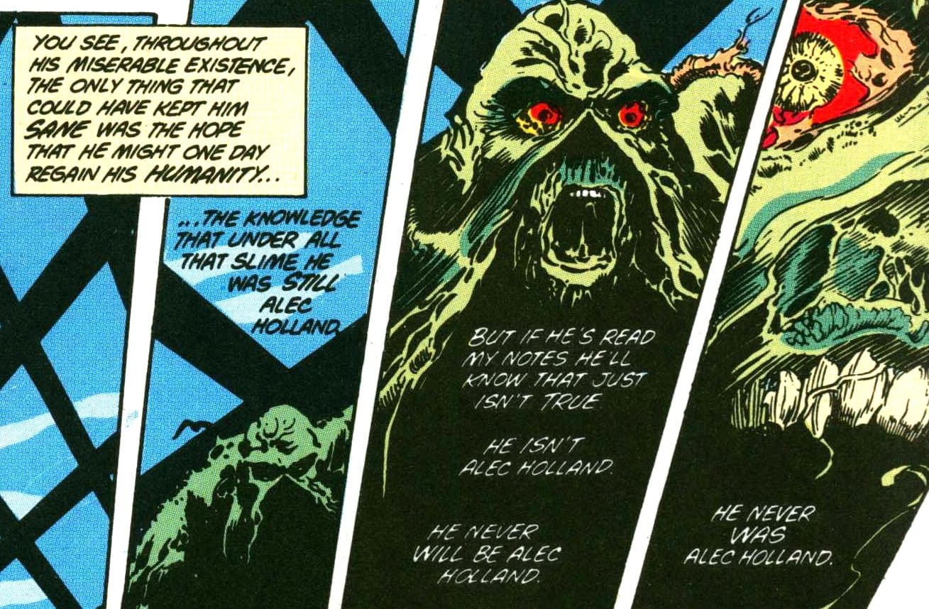 """He never was Alec Holland."" (Detail). From The Saga of the Swamp Thing, February 1984. Writer: Alan Moore. Pencils: Steve Bissette. Inker: John Totleben. Colorist: Len Wein."