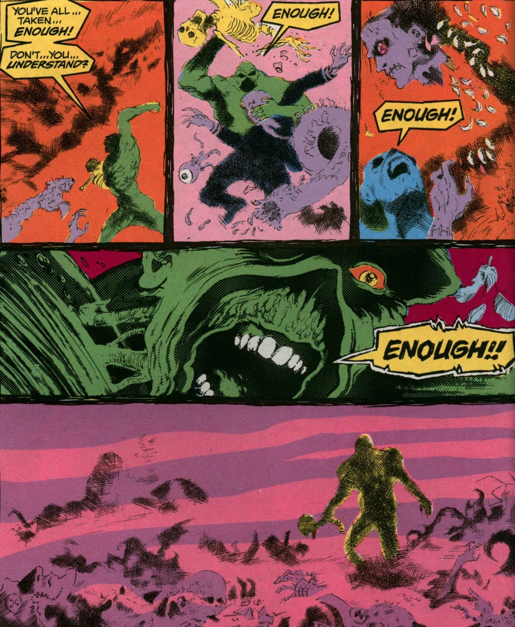 The Swamp Thing defends his humanity. Panels from The Saga of the Swamp Thing, February 1984. Writer: Alan Moore. Pencils: Steve Bissette. Inker: John Totleben. Colorist: Len Wein.