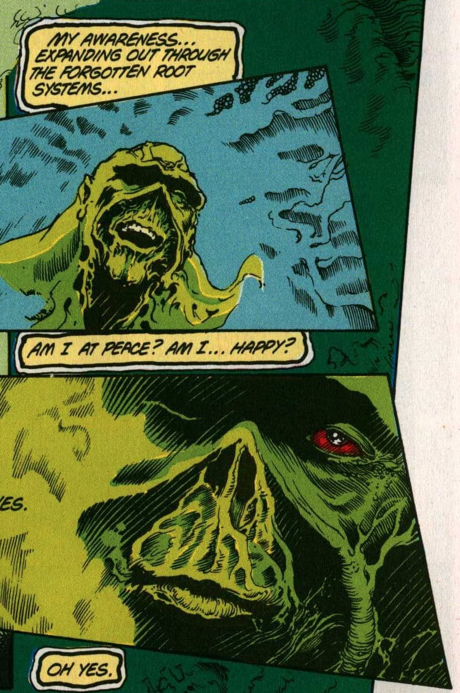 The Swamp Thing at peace. Panels from The Saga of the Swamp Thing, February 1984. Writer: Alan Moore. Pencils: Steve Bissette. Inker: John Totleben. Colorist: Len Wein.