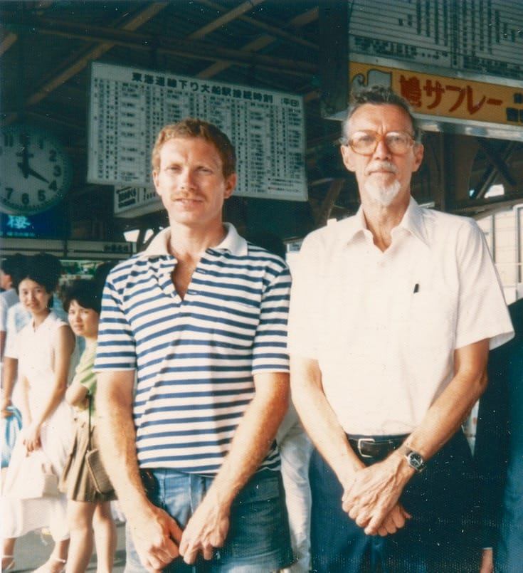 David Weinstein and Robert Aitken in Japan, 1985.