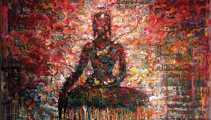 Painting of a meditator self-immolating.