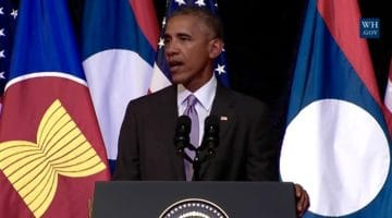 Obama speaking in Laos.