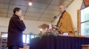 Cheri Maples ordaining with Thich Nhat Hanh.