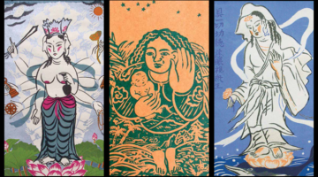 """Hands of Compassion,"" ""I Will Be With You,"" and ""Kanzeon & Dolphin""  by Mayumi Oda."