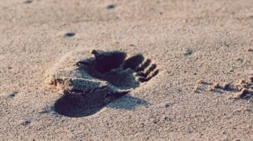 Footprint in sand.