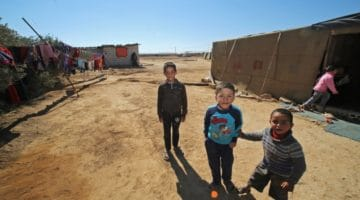 Syrian refugee children playing.