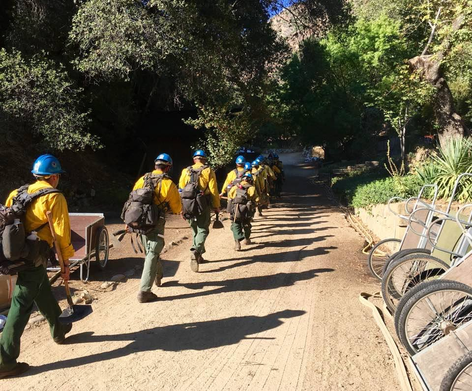 Firefighting crew members at Tassajara via Tassajara Zen Mountain Center on Facebook.