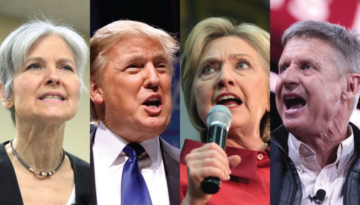 Presidential candidates Jill Stein, Donald Trump, Hillary Clinton, and Gary Johnson.