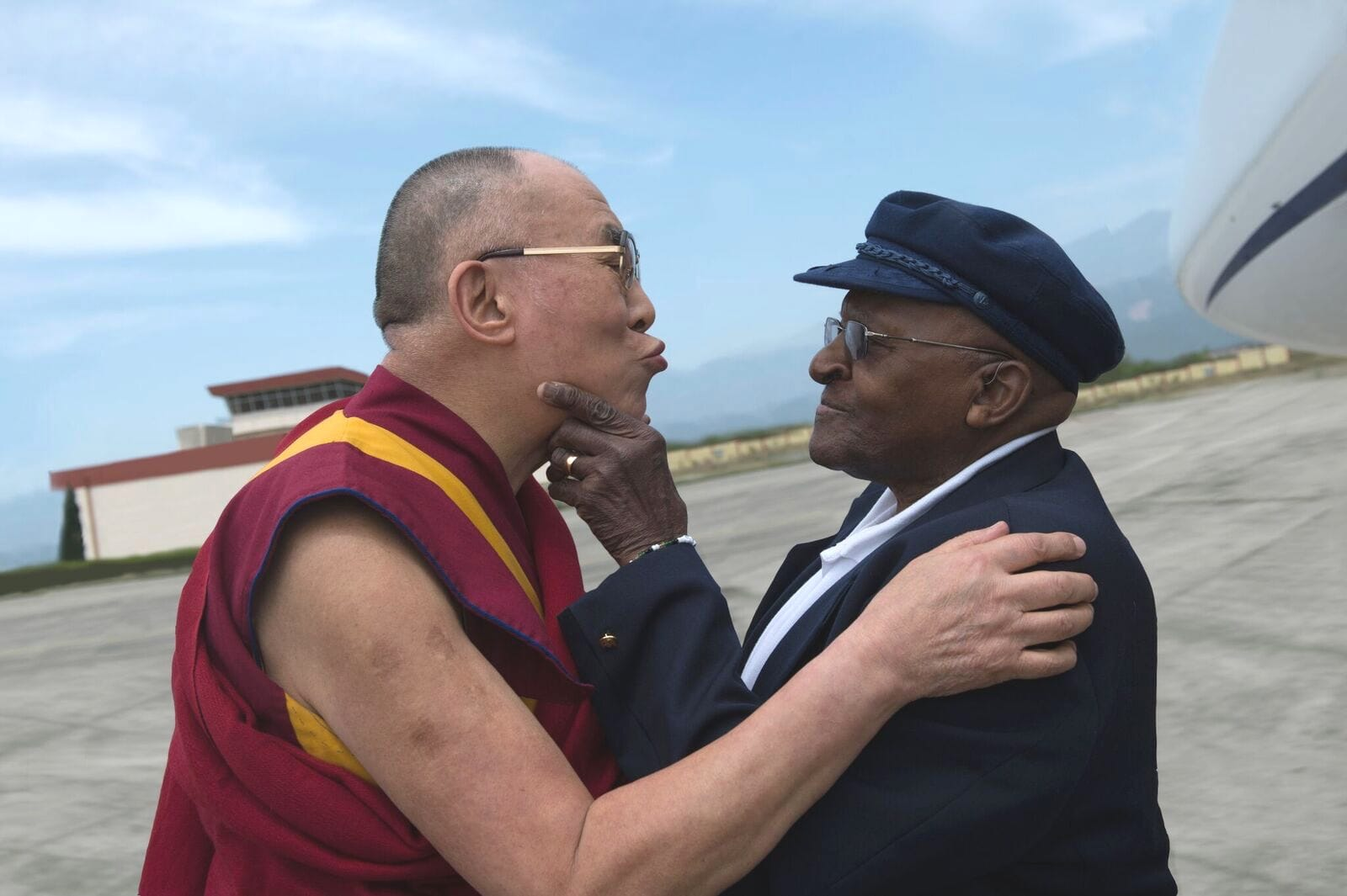 The Dalai Lama and Archbishop Desmond Tutu: the joy abounds. Photo by Tenzin Choejor.