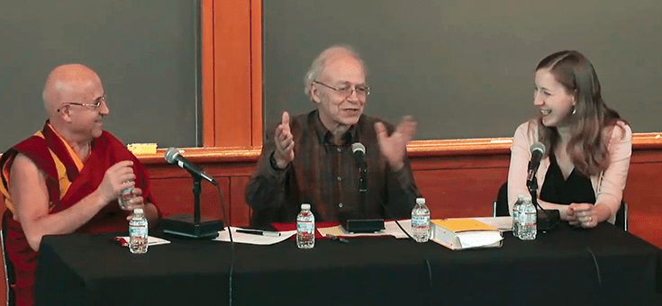 """Ricard, Singer, and Wise at """"A Conversation About Altruism"""" at Princeton University."""