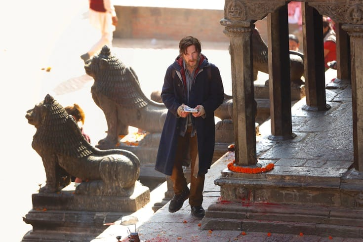 Cumberbatch with a beard on the set of Doctor Strange.