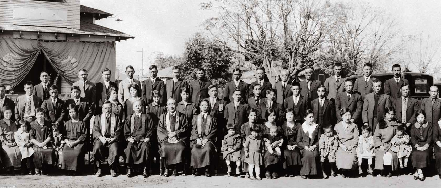 The congregation of Bakersfield Buddhist Church in Bakersfield, California, November 19, 1925. Photo courtesy the Japanese American National Museum (Buddhist Churches of America Archives, 99.201)