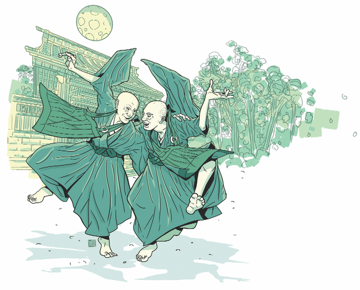 Illustration of dancing monks.