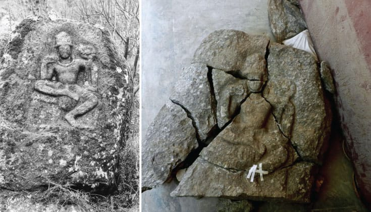 Left, an intact carving of Avalokitesvara on a boulder. Right, the same carving reassembled after it was blasted by the Taliban.