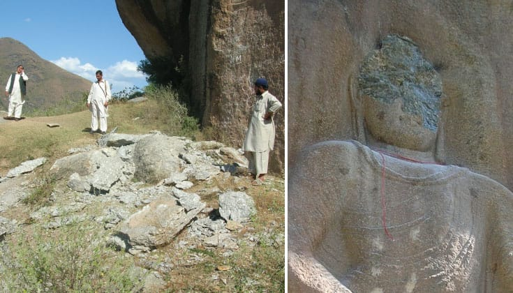 The damage to the Jehanabad Buddha.
